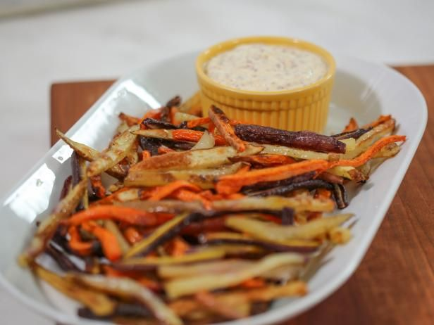 Get Rainbow Fries with Grainy Mustard Aioli Recipe from Food Network