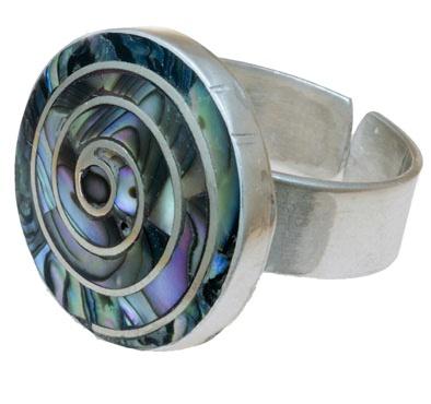 Anillo hecho a mano, en plata 950 , regulable, con incrustaciones de piedras semipreciosas