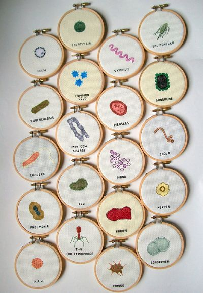 Embroidered Microbes By Alicia Watkins Why Not Pinterest Classy Cool Cross Stitch Patterns