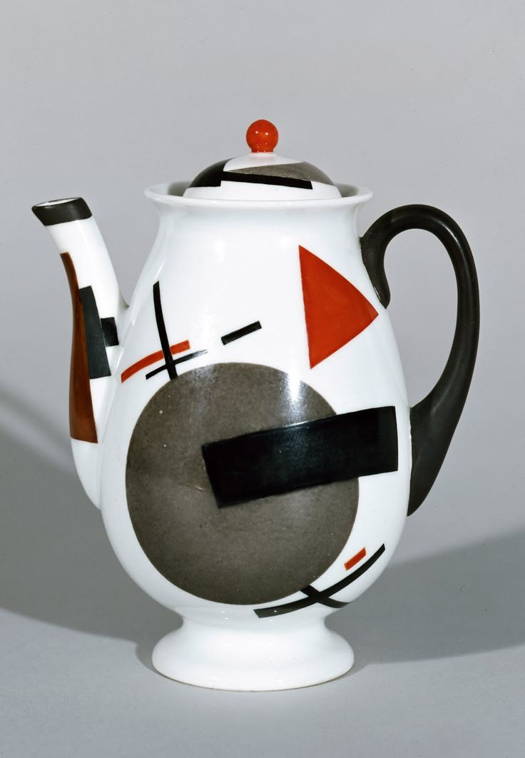 Nikolai Suetin (1897–1954), Russian / Lomonosov Suprematist teapot, white ovoid shape decorated with geometric shapes in red, black and grey (art deco related), pedestal foot, Lomonosov Porcelain Factory, Leningrad (now St. Petersburg), c. 1924, porcelain with overglaze painted decoration, USSR/Soviet Union/Russia