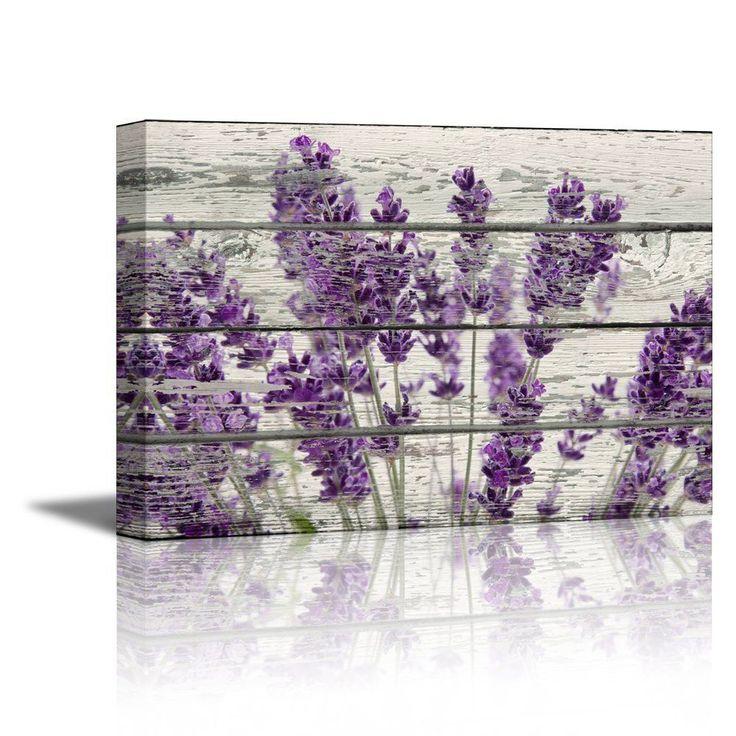 "Canvas- Retro Style Purple Lavender Flowers on Wood Background- 16"" x 24"""