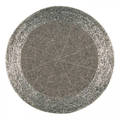 Beaded Round Place Mats in Deep Grey