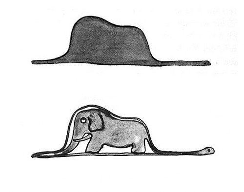 """It wasn't a hat, it was a boa constrictor swallowing an elephant""  - The Little Prince."