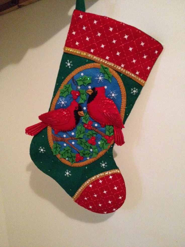 #Bucilla #Cardinals #Christmas stocking #Felted Appliqué #perk studios  I made this for my brother-in-law, Joe. I toned down the bling from the original instructions and kept it simple.