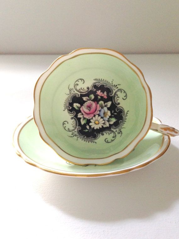 Vintage English Fine Bone China Tea Cup and Saucer By Appointment to Her Majesty the Queen Tea Party - Ca. 1952 - 1960
