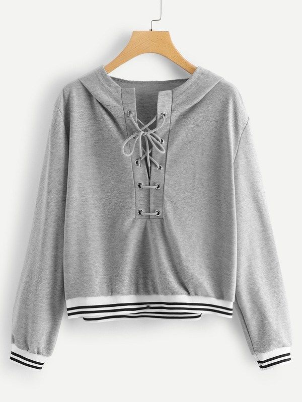 3c8a7dc30a  ad Plus Lace Up Hooded Sweatshirt. Price   16.00. Grey Casual Long Sleeve Striped  Lace Up Fabric has some stretch Spring Plus Size Sweatshi…