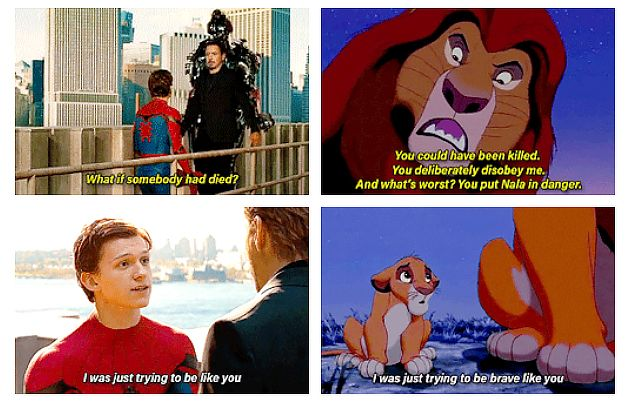"Tony and Peter, ""Spider-Man: Homecoming"" x Mufasa and Simba, ""Lion King."""