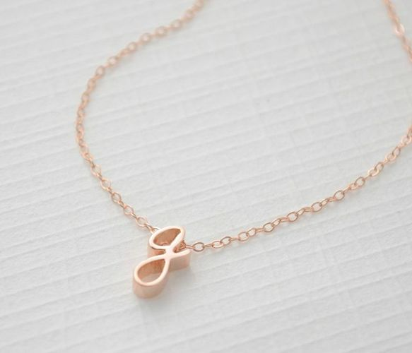 Rose Gold Letter Necklace.