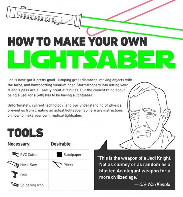 How to make your own lightsaber. Finally, a Pin worthy of crafting.