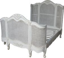 French Curved Rattan Bed (Antique White) B003P