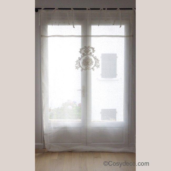 simple grand rideaux en voile de lin blanc cru et broderie chez cosy dco with rideau campagne rouge. Black Bedroom Furniture Sets. Home Design Ideas