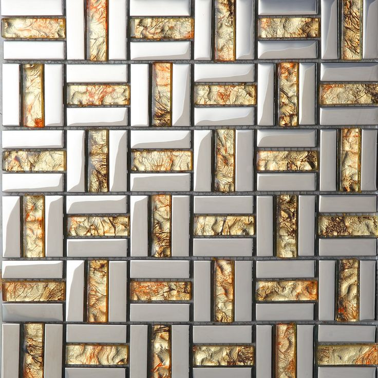 High Quality Wholesale Strip Glass Mosaic Wall Tile Gold Silver Mixed Crystal Metal  Coating Tiles Discount Tile Backsplash