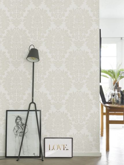 Damask Classic Wallpaper - Peel and Stick - Beige on White