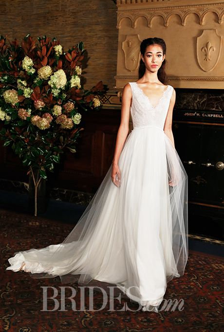 "Brides.com: . Style AS63, ""Magnolia"" sleeveless tulle and lace sheath wedding dress with a V-neckline and scattered beading, Austin Scarlett"