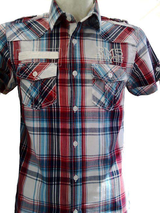 chemisettes à carreaux bleus pour homme