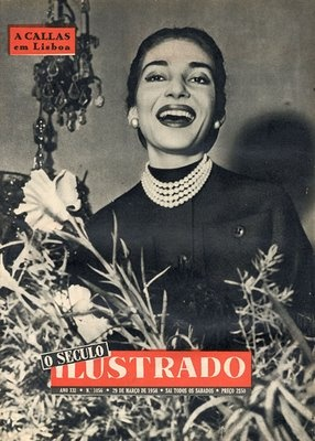 Maria Callas, the Greek Beauty on the front cover of ''O SECULO ILUSTRADO'' - the great Maria Callas on her visit to Lisbon
