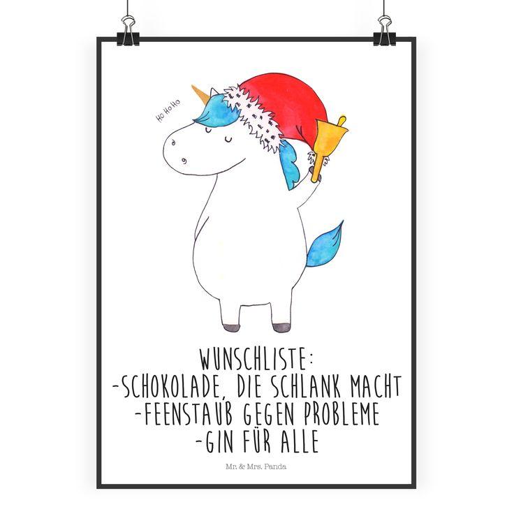 Poster DIN A2 Einhorn Weihnachtsmann aus Papier 160 Gramm  weiß - Das Original von Mr. & Mrs. Panda.  Jedes wunderschöne Poster aus dem Hause Mr. & Mrs. Panda ist mit Liebe handgezeichnet und entworfen. Wir liefern es sicher und schnell im Format DIN A2 zu dir nach Hause.    Über unser Motiv Einhorn Weihnachtsmann  Ein Einhorn Edition ist eine ganz besonders liebevolle und einzigartige Kollektion von Mr. & Mrs. Panda. Wie immer bei unseren Produkten sind alle Motive handgezeichnet und werden…