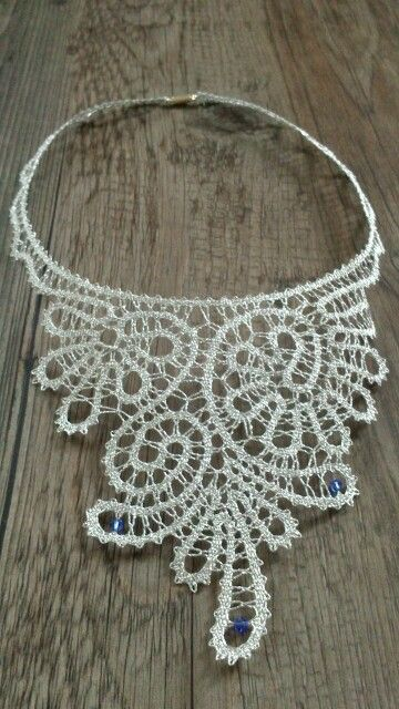 Necklace - bobbin lace with swarovski elements. tape lace
