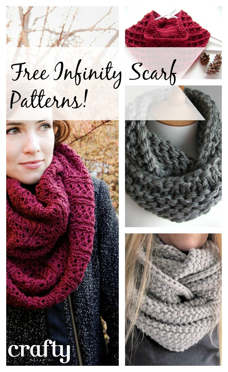 Free Infinity scarf patterns - knitting and crochet patterns