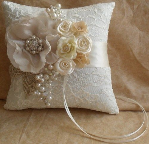 champagne and ivory and turquoise wedding ideas | Ivory Lace Ring Bearer's Pillow with Champagne and Gold Accents ...