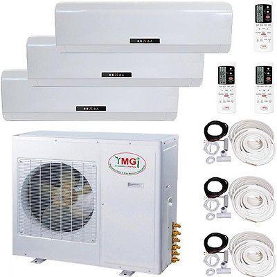 5 TON Tri Zone Ductless Split Air Conditioner, 60000 BTU: 18000 + 18000 + 24000