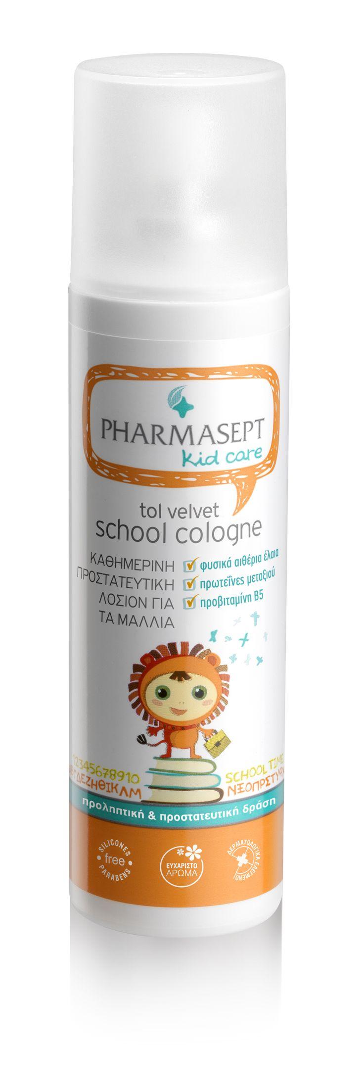 TOL VELVET SCHOOL COLOGNE 100ml Κλινικά μελετημένο στο Νοσοκομείο Αττικόν Κρατήστε τις ψείρες σε απόσταση! To Tol Velvet School Cologne είναι μία αρωματική λοσιόν με φυτικά αιθέρια έλαια που απομακρύνουν τις ψείρες, ευχάριστό άρωμα και πρωτεΐνες μεταξιού που περιποιούνται τα μαλλιά χωρίς να τα λαδώνουν. Για καθημερινή προληπτική χρήση