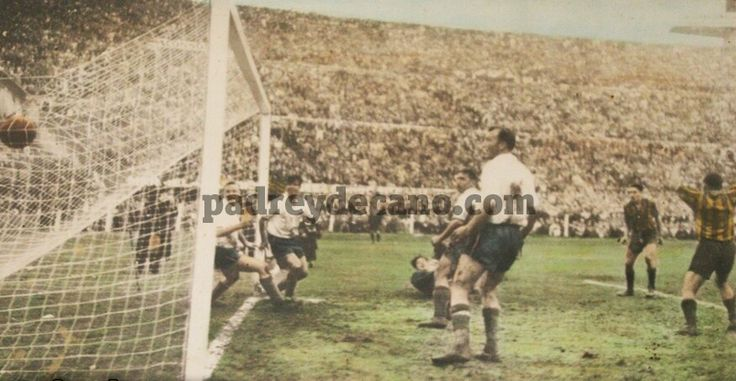 Alcides Ghigga scores for Penarol against CD Nacional in the Montevideo derby in the early 1950s.