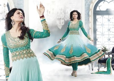 Latest Sky Blue & Sky Green Designer Bollywood Salwar Suit.