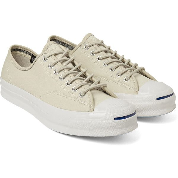 Converse Jack Purcell Signature canvas sneakers ($82) ❤ liked on Polyvore featuring shoes, sneakers, laced shoes, lacing sneakers, canvas shoes, round cap and canvas lace up shoes
