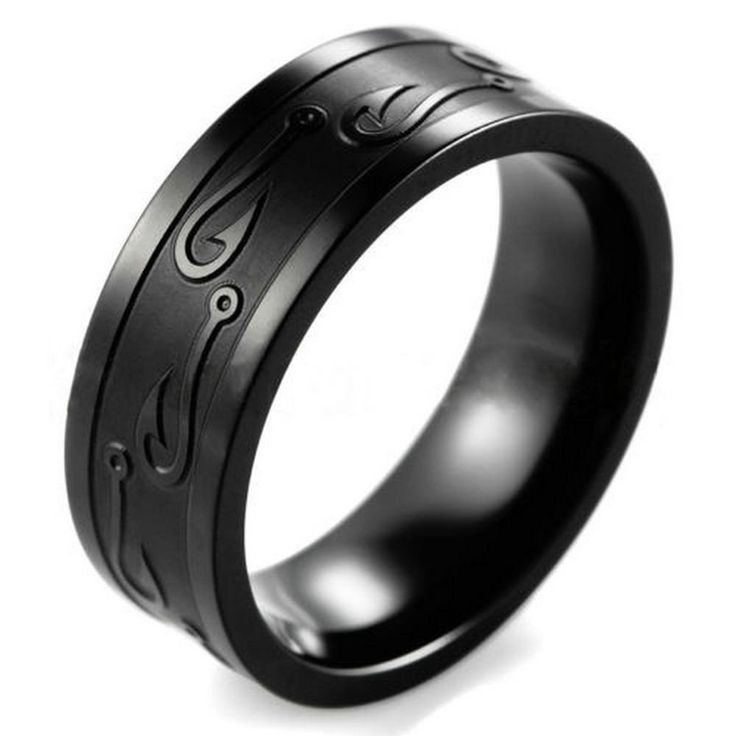 USA Titanium Stainless Steel Fish Hook Wedding Band Outdoor Hunting Ring Jewelry