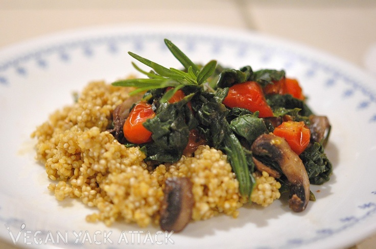 ... make this for dinner tonight! :P Rosemary Spinach Saute with Quinoa