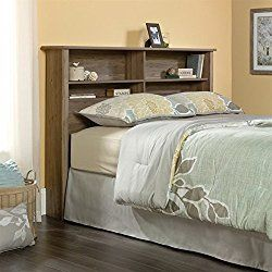 sauder county line queen bookcase headboard in salt oak - Hngenden Tr Kopfteil