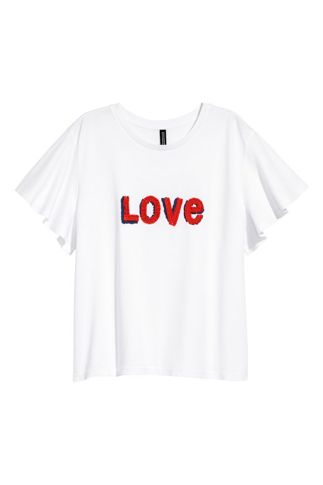 Appliquéd T-shirt - White/Love - Ladies | H&M GB 2