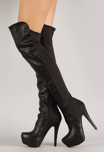 Qupid Task-22X Stretch Thigh High Boot On Sale . Click to Purchase