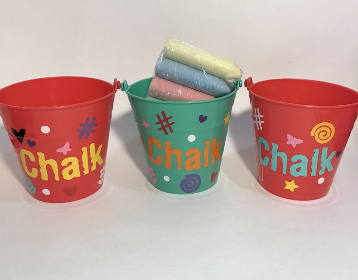 Childrens plastic buckets summer games chalk kids toys gifts for kids birthday gifts by CraftyCassondra on Etsy https://www.etsy.com/listing/499696330/childrens-plastic-buckets-summer-games
