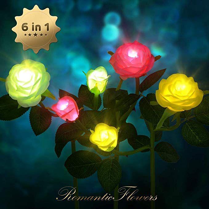 CCJK 3 Pack Solar Garden Lights Outdoor Decorative Rose
