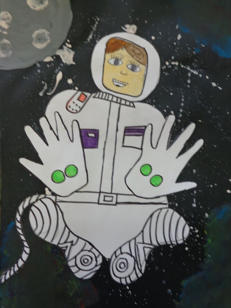 Astronaut self-portraits by my Grade 3/4 students.
