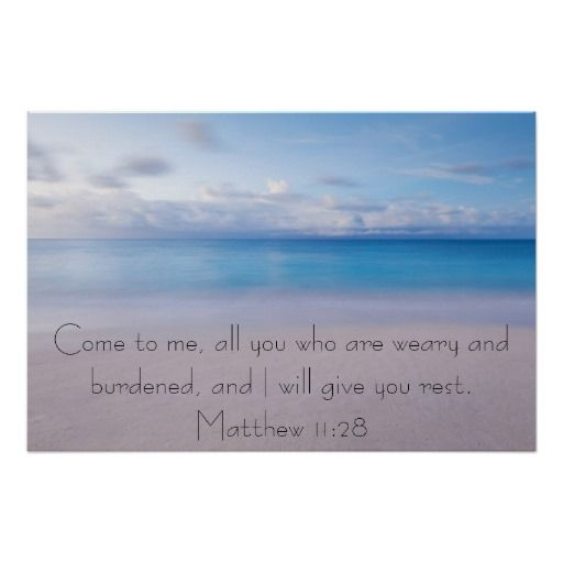 Beach background Give you rest bible verse Matthew 11:28 Poster