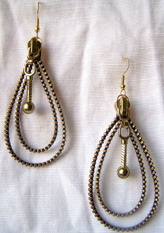 Gold Zipper Loop Earrings by KariMcMurphy on Etsy, $20.00