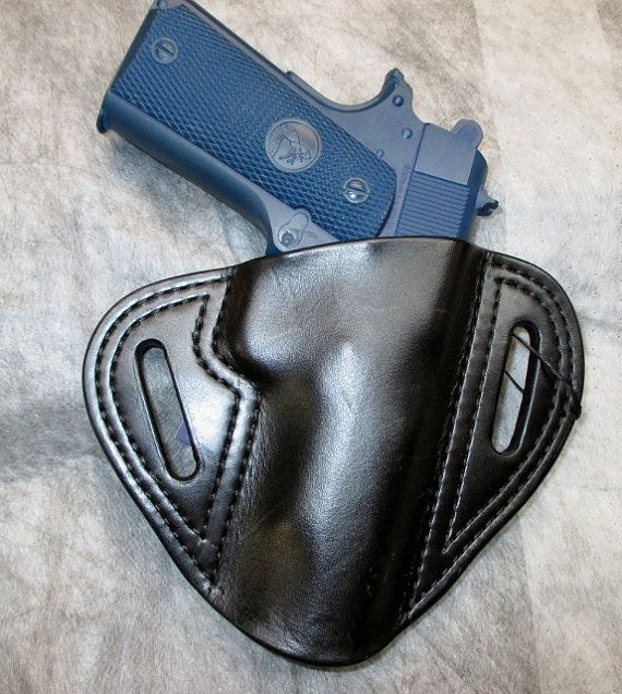 "1911 Colt 45 Commander 4.25"" Right Hand Leather Pancake Belt Slide Speed Holster Black"