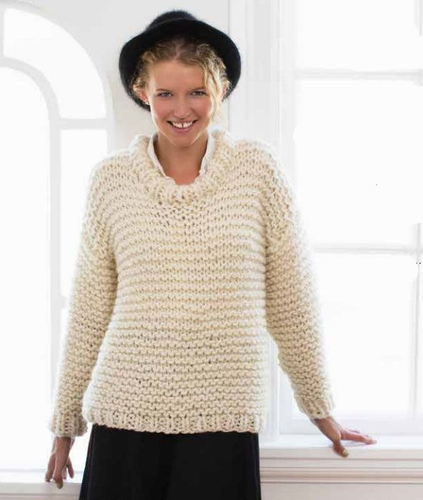 b10716c7f Easy and Quick Chunky Knit Sweater Free Knitting Pattern