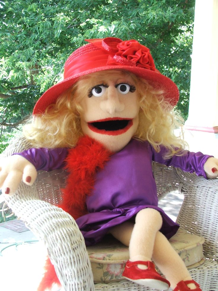 Rose by PJs Puppets, Red Hat Society lady -- custom professional puppet