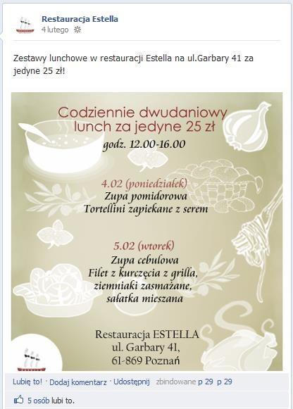 Promocja zestawów lunchowych w Estelli - przykład wpisu z fanpage'a który prowadzimy.