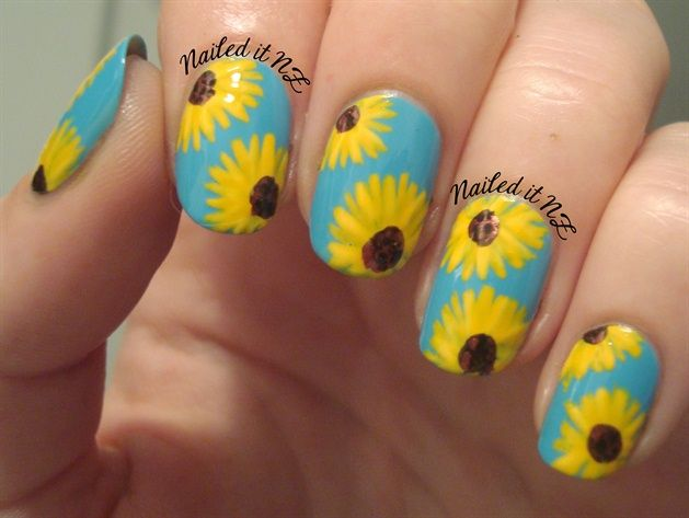 Sunflower nails by naileditnz - Nail Art Gallery  nailartgallery.nailsmag.com by Nails Magazine - 78 Best Nails Images On Pinterest Sunflowers, Sunflower Nails