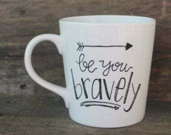 Mops Be You Bravely Arrows | Be You Bravely Hand Painted Coffee Mug - Arrow Mug ...
