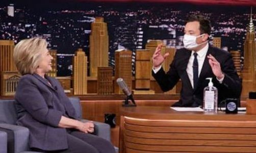 Jimmy Fallon pulls out a mask and sanitizer for Hillary Clinton interview – what, no pickle jars?