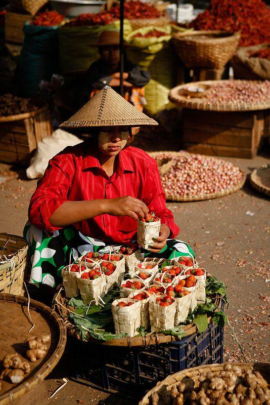 Strawberry seller Mandalay, Myanmar,