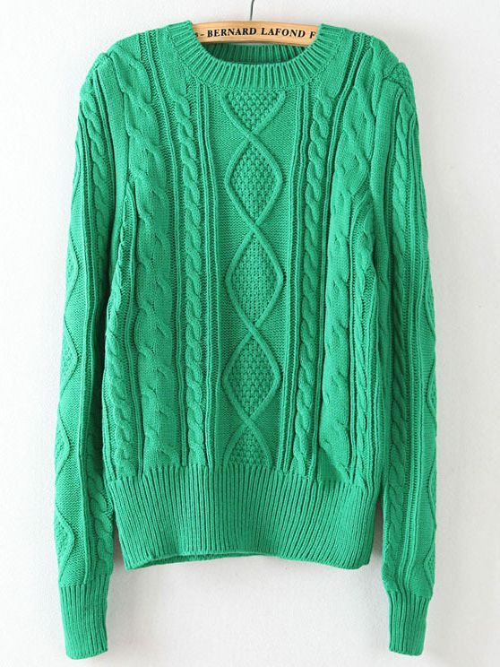 Green Puff Long Sleeve Cable Knit Sweater US$33.93