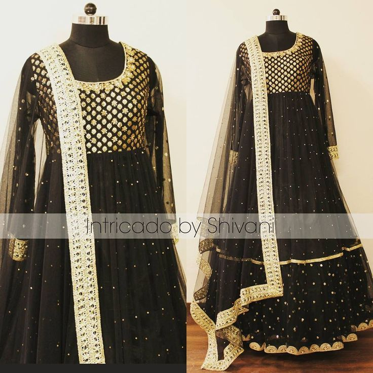 Mukaish, kundan and dabka embroidered floor length anarkali in black and gold. To order/enquiry, email at shivani@intricado.com or Inbox on Facebook page www.facebook.com/intricado or Whatsapp at +918527463626  #anarkali #floorlength #designeranarkali #sequins #gold #zardozi #indianembroidery #blackanarkali #ethniccouture #indianfashion #embroidery #handwork #indianbridal #lehenga #bridallehenga #indianwear #engagementlehenga #designerlehenga #indiandesigner #indianbride #indianwedding…