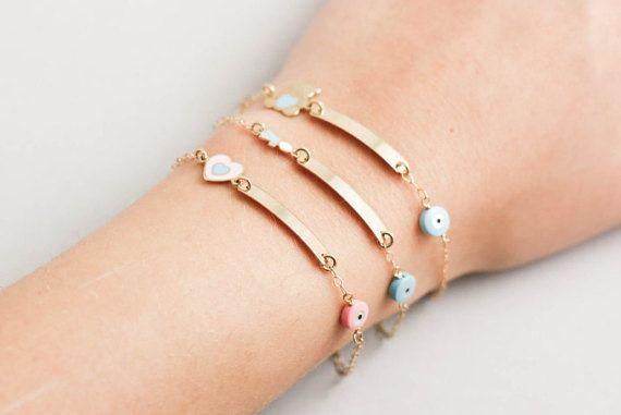 Children's ID bracelet 14k gold engraved bracelet for